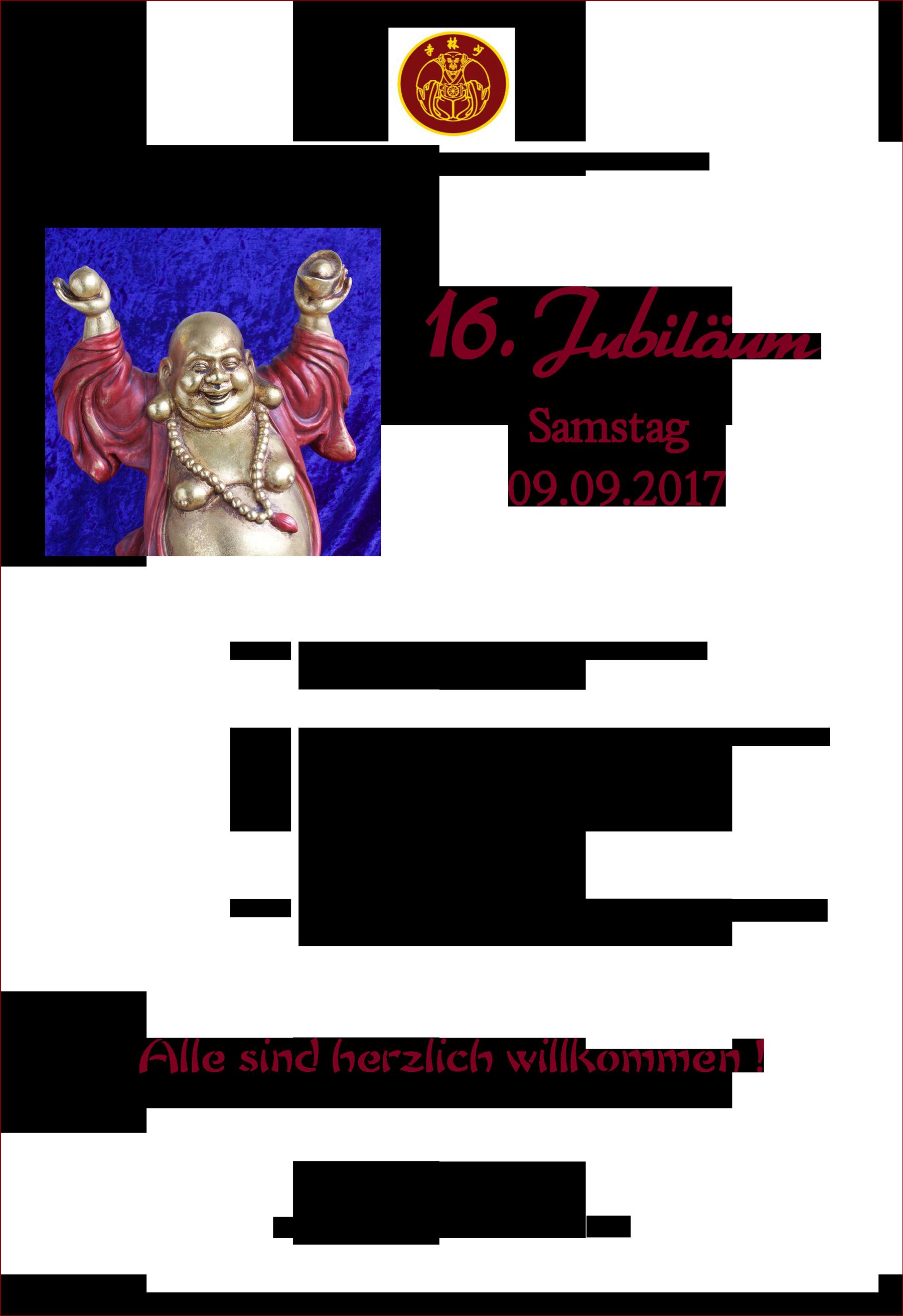 einladung: 16. jubiläum des shaolin tempel deutschland, Einladung