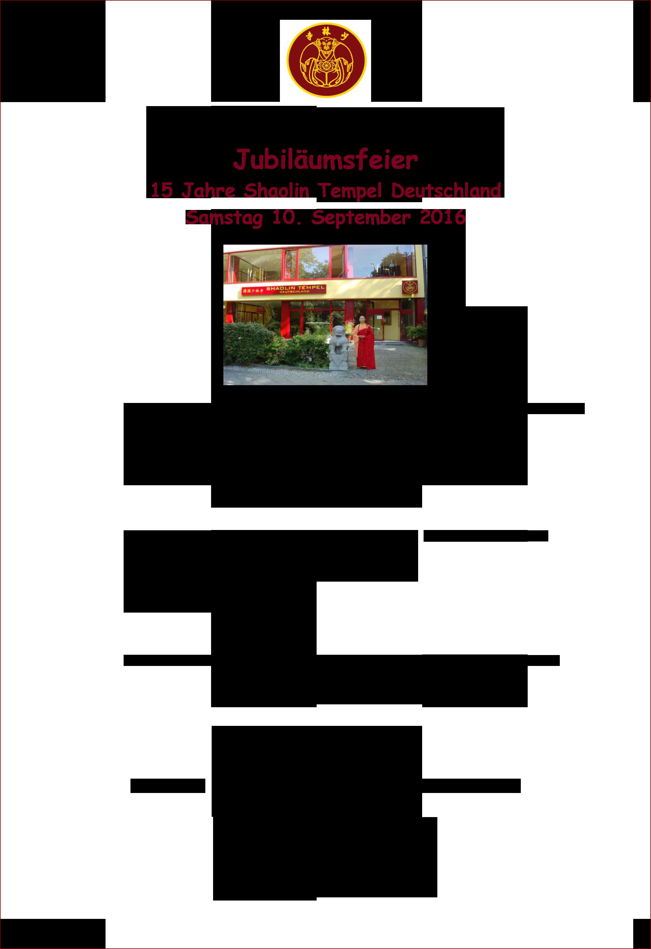 Einladung zur Jubiläumsfeier Shaolin Tempel Deutschland