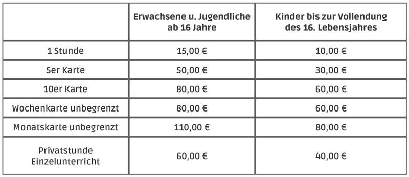 Preise Einzelstunden